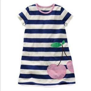 Mini Boden Cherry Pink Navy Blue Striped Dress